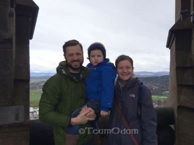 Family photo on top of the William Wallace Monument